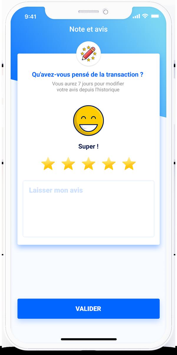 Page de notation et commentaire utilisateur pour une transaction finalisée